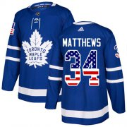 Wholesale Cheap Adidas Maple Leafs #34 Auston Matthews Blue Home Authentic USA Flag Stitched Youth NHL Jersey