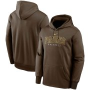 Wholesale Cheap San Diego Padres Nike Outline Wordmark Fleece Performance Pullover Hoodie Brown