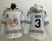 Wholesale Cheap Yankees #3 Babe Ruth White Sawyer Hooded Sweatshirt MLB Hoodie