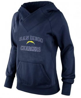 Wholesale Cheap Women\'s Los Angeles Chargers Heart & Soul Pullover Hoodie Navy Blue