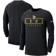 Wholesale Cheap Minnesota Vikings Nike Sideline Local Performance Long Sleeve T-Shirt Black