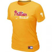 Wholesale Cheap Women's Philadelphia Phillies Nike Short Sleeve Practice MLB T-Shirt Yellow