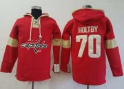 Wholesale Cheap Capitals #70 Braden Holtby Red Pullover Hoodie Stitched NHL Jersey