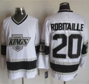 Wholesale Cheap Kings #20 Luc Robitaille White CCM Throwback Stitched NHL Jersey