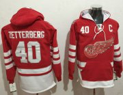 Wholesale Cheap Red Wings #40 Henrik Zetterberg Red Name & Number Pullover NHL Hoodie
