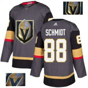 Wholesale Cheap Adidas Golden Knights #88 Nate Schmidt Grey Home Authentic Fashion Gold Stitched NHL Jersey