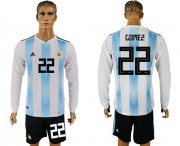Wholesale Cheap Argentina #22 Gomez Home Long Sleeves Soccer Country Jersey
