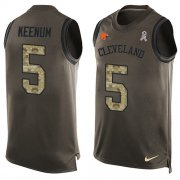 Wholesale Cheap Nike Browns #5 Case Keenum Green Men's Stitched NFL Limited Salute To Service Tank Top Jersey