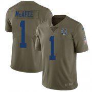 Wholesale Cheap Nike Colts #1 Pat McAfee Olive Men's Stitched NFL Limited 2017 Salute to Service Jersey