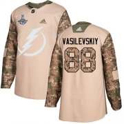 Cheap Adidas Lightning #88 Andrei Vasilevskiy Camo Authentic 2017 Veterans Day Youth 2020 Stanley Cup Champions Stitched NHL Jersey