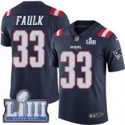 Wholesale Cheap Nike Patriots #33 Kevin Faulk Navy Blue Super Bowl LIII Bound Men's Stitched NFL Limited Rush Jersey
