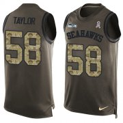 Wholesale Cheap Nike Seahawks #58 Darrell Taylor Green Men's Stitched NFL Limited Salute To Service Tank Top Jersey