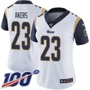 Wholesale Cheap Nike Rams #23 Cam Akers White Women's Stitched NFL 100th Season Vapor Untouchable Limited Jersey