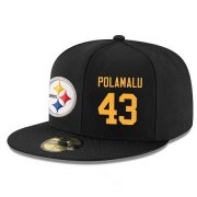 Wholesale Cheap Pittsburgh Steelers #43 Troy Polamalu Snapback Cap NFL Player Black with Gold Number Stitched Hat