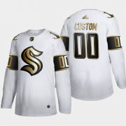 Wholesale Cheap Seattle Kraken Custom Men's Adidas White Golden Edition Limited Stitched NHL Jersey