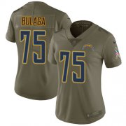Wholesale Cheap Nike Chargers #75 Bryan Bulaga Olive Women's Stitched NFL Limited 2017 Salute To Service Jersey
