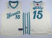 Wholesale Cheap Men's Charlotte Hornets #15 Kemba Walker Revolution 30 Swingman 2015 Christmas Day Cream Jersey