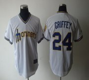 Wholesale Cheap Mariners #24 Ken Griffey White Cooperstown Throwback Stitched MLB Jersey