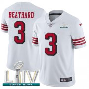 Wholesale Cheap Nike 49ers #3 C.J. Beathard White Super Bowl LIV 2020 Rush Men's Stitched NFL Vapor Untouchable Limited Jersey