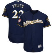 Wholesale Cheap Brewers #22 Christian Yelich Navy 2019 Spring Training Flex Base Stitched MLB Jersey