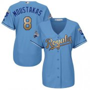 Wholesale Cheap Royals #8 Mike Moustakas Light Blue Women's 2015 World Series Champions Gold Program Cool Base Stitched MLB Jersey