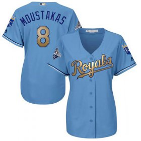 Wholesale Cheap Royals #8 Mike Moustakas Light Blue Women\'s 2015 World Series Champions Gold Program Cool Base Stitched MLB Jersey