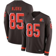 Wholesale Cheap Nike Browns #85 David Njoku Brown Team Color Men's Stitched NFL Limited Therma Long Sleeve Jersey