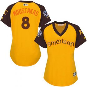 Wholesale Cheap Royals #8 Mike Moustakas Gold 2016 All-Star American League Women\'s Stitched MLB Jersey