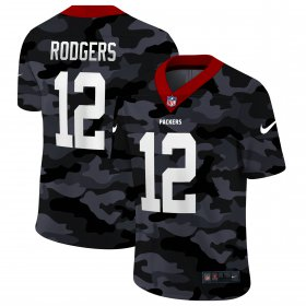 Cheap Green Bay Packers #12 Aaron Rodgers Men\'s Nike 2020 Black CAMO Vapor Untouchable Limited Stitched NFL Jersey