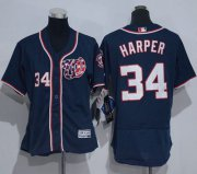 Wholesale Cheap Nationals #34 Bryce Harper Navy Blue Flexbase Authentic Women's Stitched MLB Jersey