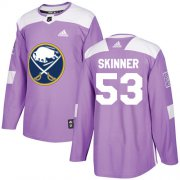 Wholesale Cheap Adidas Sabres #53 Jeff Skinner Purple Authentic Fights Cancer Youth Stitched NHL Jersey