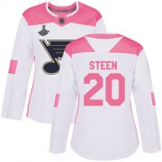 Wholesale Cheap Adidas Blues #20 Alexander Steen White/Pink Authentic Fashion Stanley Cup Champions Women's Stitched NHL Jersey
