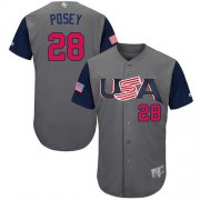 Wholesale Cheap Team USA #28 Buster Posey Gray 2017 World MLB Classic Authentic Stitched Youth MLB Jersey