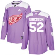 Wholesale Cheap Adidas Red Wings #52 Jonathan Ericsson Purple Authentic Fights Cancer Stitched NHL Jersey
