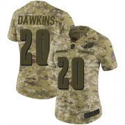 Wholesale Cheap Nike Eagles #20 Brian Dawkins Camo Women's Stitched NFL Limited 2018 Salute to Service Jersey