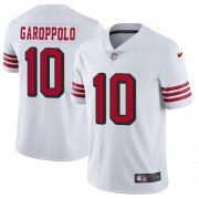 Wholesale Cheap Nike 49ers #10 Jimmy Garoppolo White Rush Men's Stitched NFL Vapor Untouchable Limited Jersey