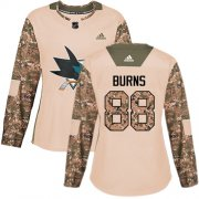 Wholesale Cheap Adidas Sharks #88 Brent Burns Camo Authentic 2017 Veterans Day Women's Stitched NHL Jersey