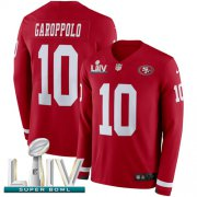 Wholesale Cheap Nike 49ers #10 Jimmy Garoppolo Red Super Bowl LIV 2020 Team Color Men's Stitched NFL Limited Therma Long Sleeve Jersey