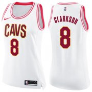 Wholesale Cheap Nike Cleveland Cavaliers #8 Jordan Clarkson White Pink Women's NBA Swingman Fashion Jersey