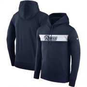 Wholesale Cheap Men's Los Angeles Rams Nike Navy Sideline Team Performance Pullover Hoodie