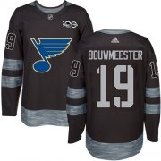 Wholesale Cheap Adidas Blues #19 Jay Bouwmeester Black 1917-2017 100th Anniversary Stitched NHL Jersey