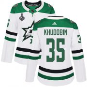 Cheap Adidas Stars #35 Anton Khudobin White Road Authentic Women's 2020 Stanley Cup Final Stitched NHL Jersey