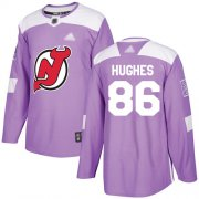 Wholesale Cheap Adidas Devils #86 Jack Hughes Purple Authentic Fights Cancer Stitched NHL Jersey