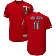 Wholesale Cheap Twins #11 Jorge Polanco Red Flexbase Authentic Collection Stitched MLB Jersey