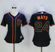Wholesale Cheap Giants #24 Willie Mays Black Alternate Women's Stitched MLB Jersey