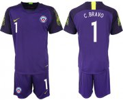Wholesale Cheap Chile #1 C.Bravo Purple Goalkeeper Soccer Country Jersey