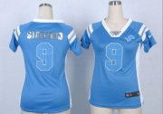 Wholesale Cheap Nike Lions #9 Matthew Stafford Light Blue Team Color Women's Stitched NFL Elite Draft Him Shimmer Jersey