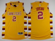 Wholesale Cheap Men's Cleveland Cavaliers #2 Kyrie Irving Revolution 30 Swingman 2015-16 Retro Gold Jersey
