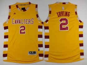 Wholesale Cheap Men\'s Cleveland Cavaliers #2 Kyrie Irving Revolution 30 Swingman 2015-16 Retro Gold Jersey