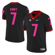 Wholesale Cheap Georgia Bulldogs 7 D'Andre Swift Black Breast Cancer Awareness College Football Jersey